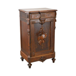 Antique Victorian Carved Aesthetic Walnut Music Cabinet