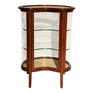 Antique English Mahogany Kidney-Shaped Vitrine, Circa 1890. For Sale