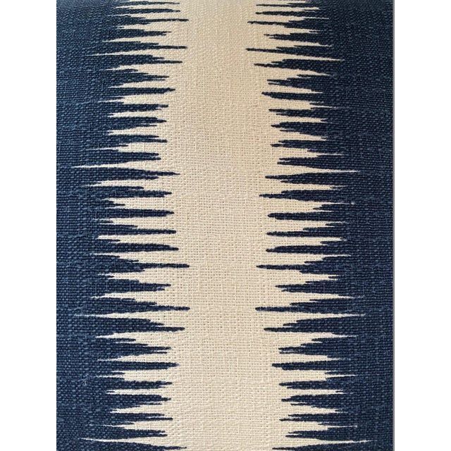 Blue and White Woven Striped Pillows - a Pair For Sale - Image 4 of 7