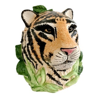 Vintage Tiger Ceramic Cookie Jar For Sale
