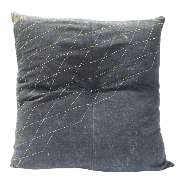 Japanese Furoshiki & Kasuri Futonji Floor Pillow For Sale