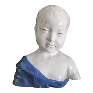 19th Century Glazed Ceramic Bust of a Boy by Cantagalli, Florence, Italy For Sale