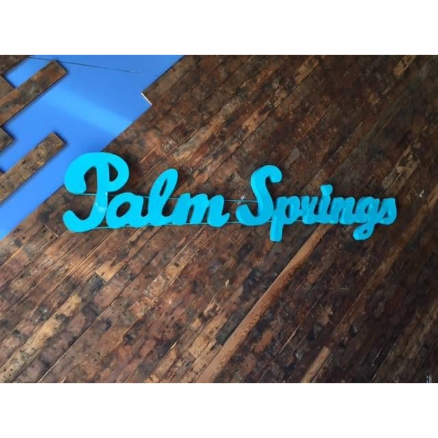 Industrial Blue Palm Springs Metal Sign For Sale - Image 4 of 4