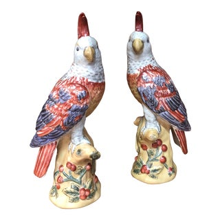 Hand Painted Bird Figurines - a Pair For Sale