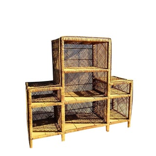 1960s Vintage Rattan Bookcase For Sale