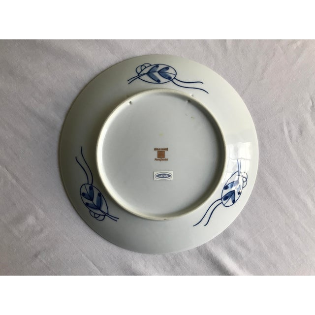 Ceramic Vintage Mid Century Japanese Hand Painted Gold Imari Decorative Plate For Sale - Image 7 of 13