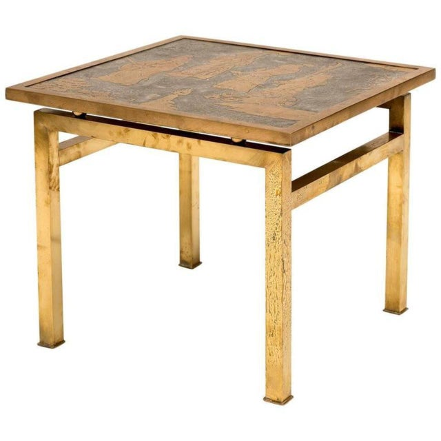 1960s Ming Philip and Kelvin LaVerne Bronze and Pewter Side Table For Sale - Image 9 of 10