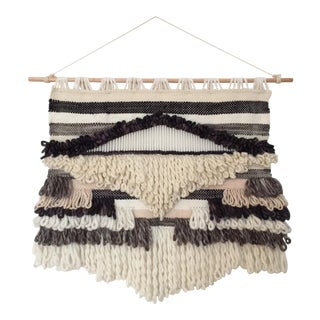 Large Contemporary Boho Geometric Hand Woven Wall Hanging Weaving For Sale