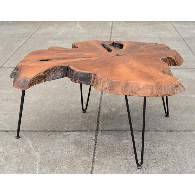 Mid Century Modern Live Edge Coffee Table With Hairpin Legs For Sale - Image 10 of 10