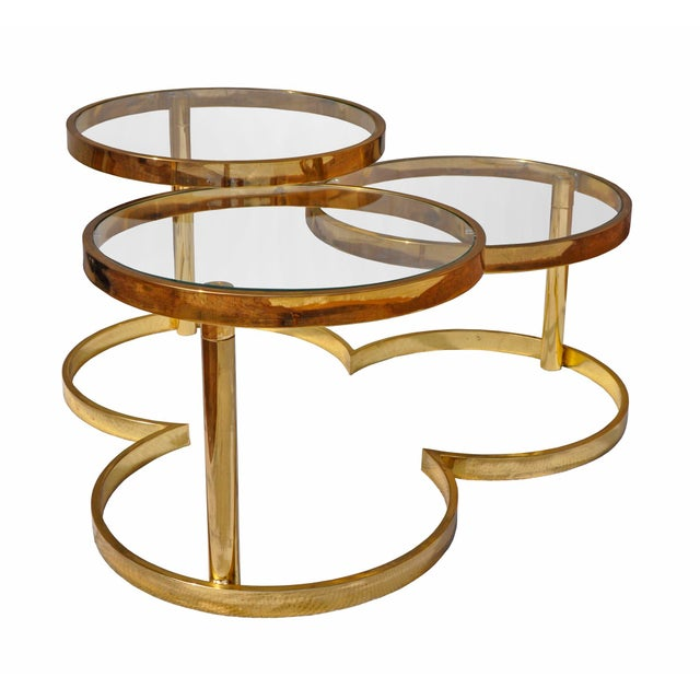 Coffee Table With Swivel: Brass Clover Swivel Coffee Table