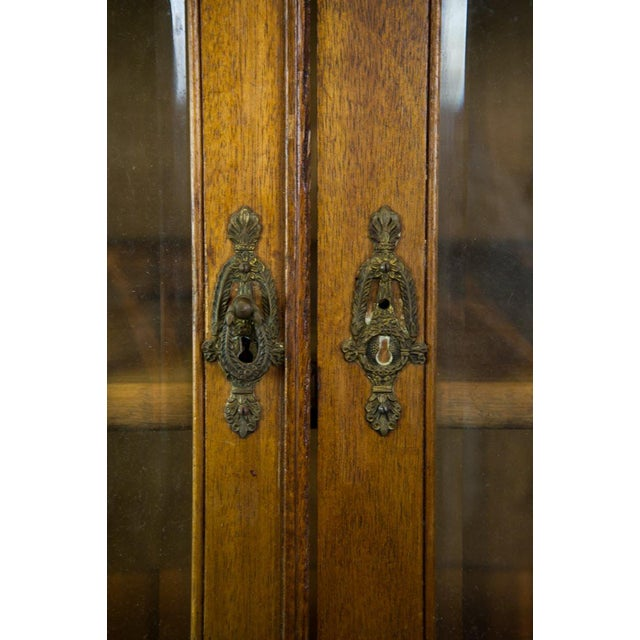 French Vintage French Oak Breakfront Display Cabinet For Sale - Image 3 of 10