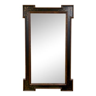 Tall Chinoiserie Black Beveled Mirror For Sale