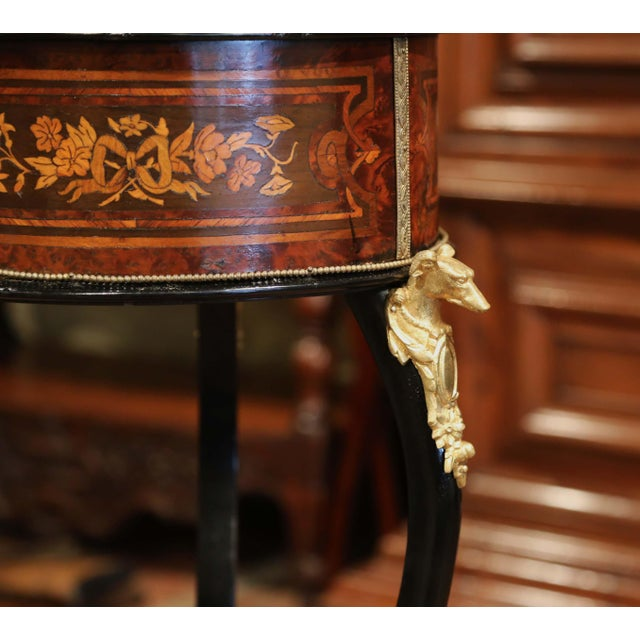 Black 19th Century, French Napoleon III Inlay Rosewood Plant Stand With Brass Mounts For Sale - Image 8 of 9