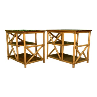 Rattan Chinoiserie Style End Tables For Sale