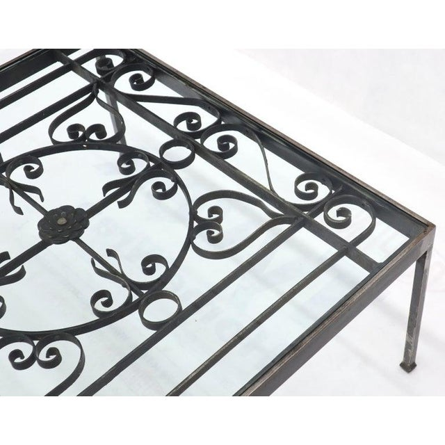 Massive Wide Rectangle Glass Top Wrought Iron Coffee Center Table For Sale - Image 10 of 11