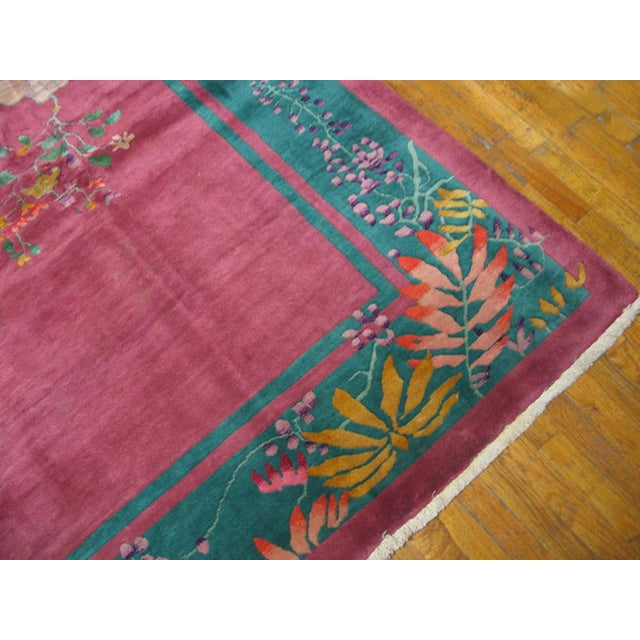 1920s Antique Chinese Art Deco Rug For Sale - Image 5 of 6