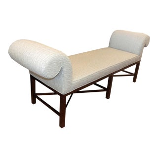 Baker Furniture Contemporary Rolled Arm Upholstered Bench For Sale