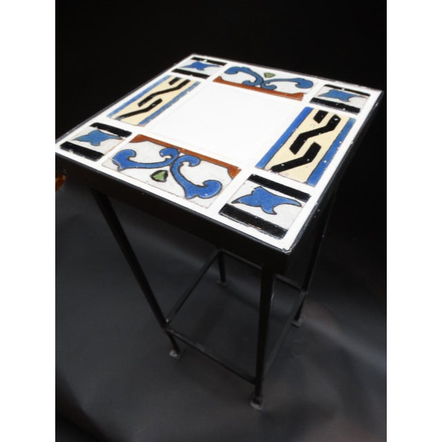 Spanish 1920s Spanish Revival Malibu Tile Side Table For Sale - Image 3 of 6