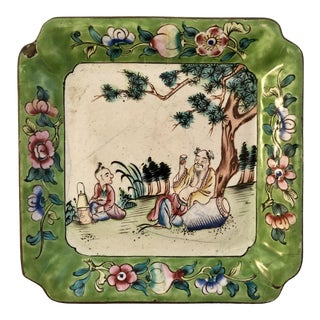 Antique Chinese Canton Enamel Trinket Dish For Sale