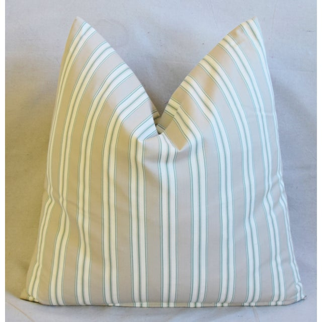 """Early 21st Century French Striped Ticking Feather/Down Pillows 23"""" Square - Pair For Sale - Image 5 of 11"""