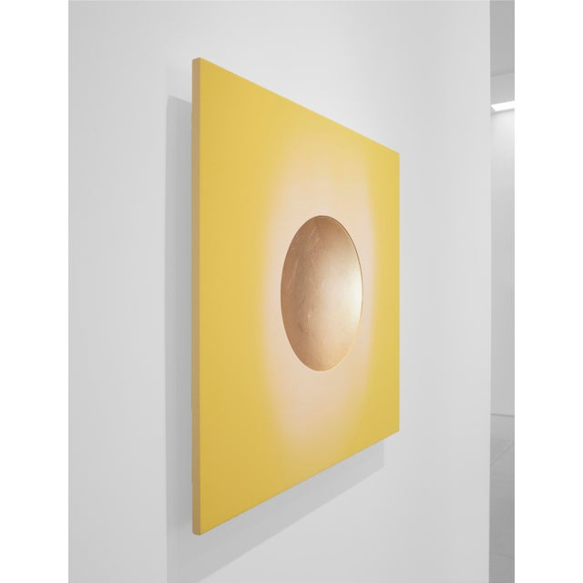 Abstract Lita Albuquerque, 'Sentient Solar Vapor,' 2018, 24k Gold Leaf on Resin, Pigment on Panel, 30 X 30 Inches For Sale - Image 3 of 4
