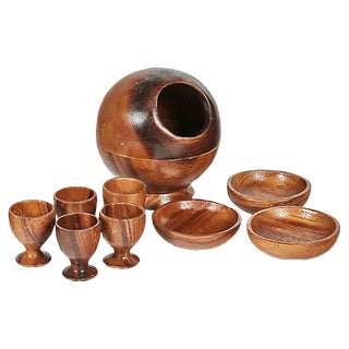1960s Monkey Wood Table Service, Set of 9 For Sale