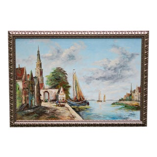 Large Antique French Nautical Original Oil Painting For Sale