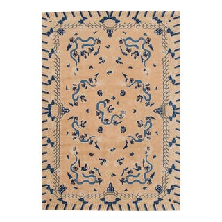 "Apadana - Antique Tan and Blue Chinese Peking Rug, 6'7"" x 9'7"" For Sale"