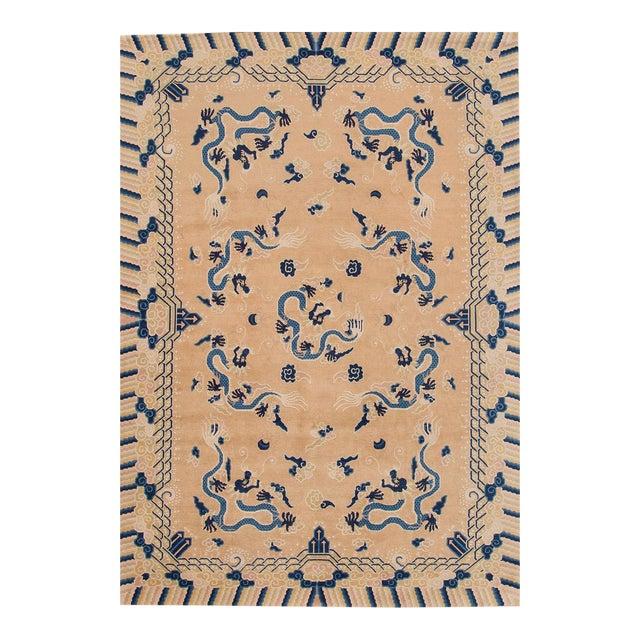 "Apadana - Antique Tan and Blue Chinese Peking Rug, 6'7"" x 9'7"" For Sale"
