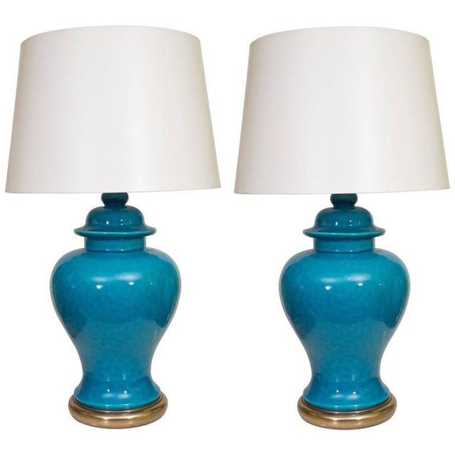 Pair of Mid-Century Ceramic Blue Lamps For Sale - Image 9 of 9