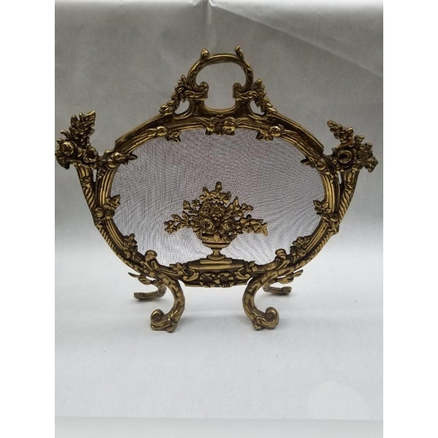 Antique French Rococo Louis XV Style Cast Bronze Flowers Fireplace Fire Screen For Sale - Image 4 of 4