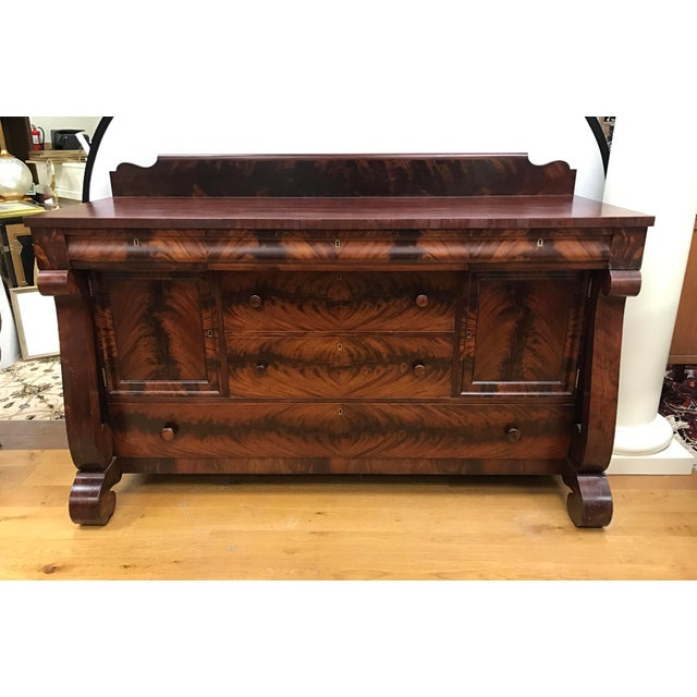 Empire Flame Mahogany Server Credenza Sideboard Buffet For Sale - Image 9 of 9
