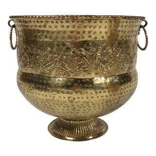 Floral Hammered Brass Cachepot For Sale