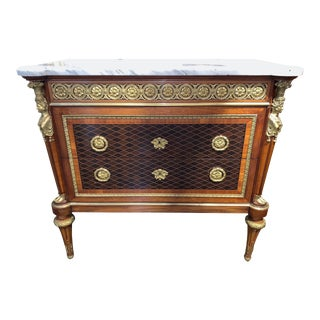 French XVI Style Mahogany Inlaid Commode with Marble Top For Sale