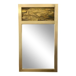 Bernard Rhône for Mastercraft Acid Etched Brass Mirror For Sale