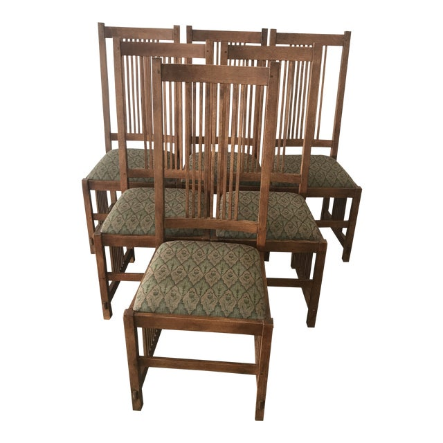 Late 20th Century Arts & Craft Mission Stickley Furniture Oak Side Dining Chairs- Set of 6 For Sale