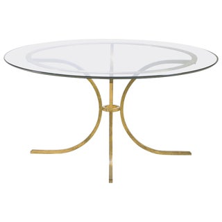1960s French Robert Thibier Wrought Iron Gold Leaf Glass Dining Table For Sale