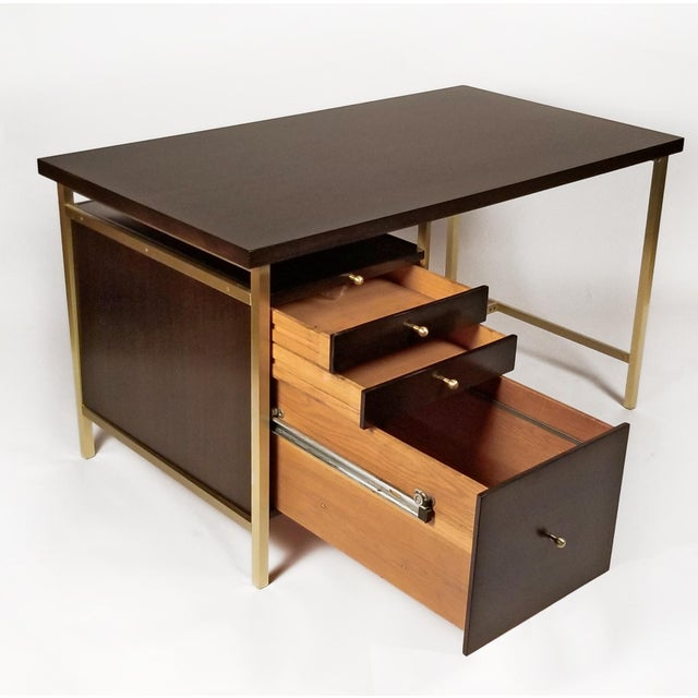 Gold Paul McCobb Brass & Mahogany Desk for the Connoisseur Collection H. Sacks & Sons For Sale - Image 8 of 11