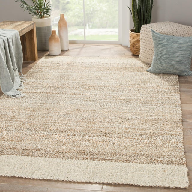 2010s Jaipur Living Mallow Natural Bordered White/ Tan Area Rug - 9′ × 12′ For Sale - Image 5 of 6