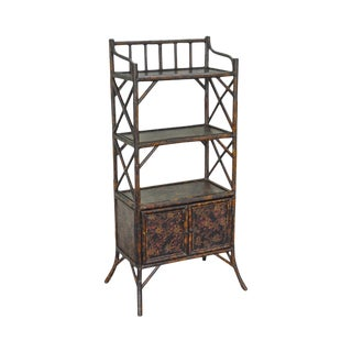 Victorian Style Bamboo Faux Painted Etagere Bookcase