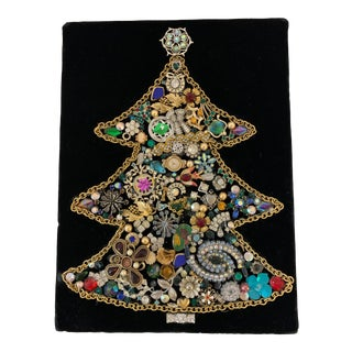 2000s Hand Crafted Jeweled Christmas Tree Art For Sale