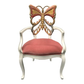 1980s Hand Carved Hand Painted Butterfly Chair For Sale