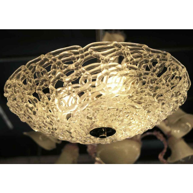 Contemporary Lattice Blown Glass Domed Pendant Light For Sale - Image 3 of 7