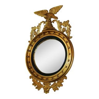 Early 19c Federal Eagle Wood & Gesso Gilded Convex Mirror For Sale
