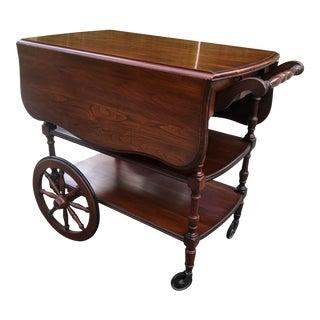 Vintage Pennsylvania House Cherry Drop Leaf Bar Cart For Sale