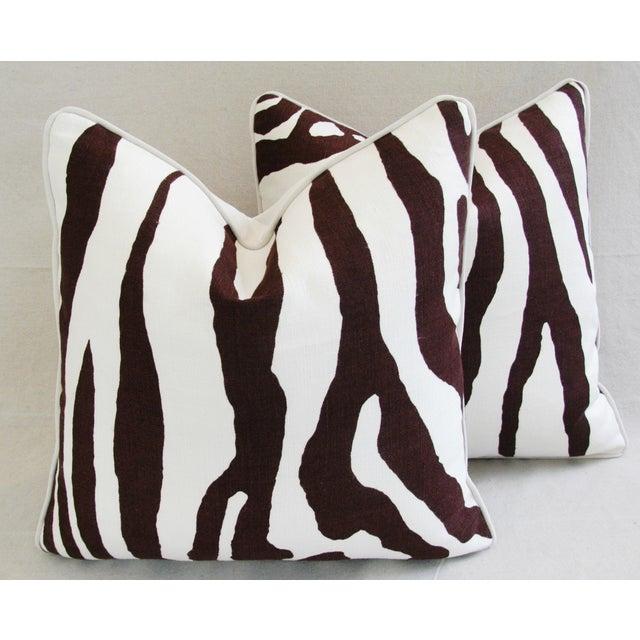 Custom Scalamandre Zebra Linen Pillows - Pair - Image 6 of 11