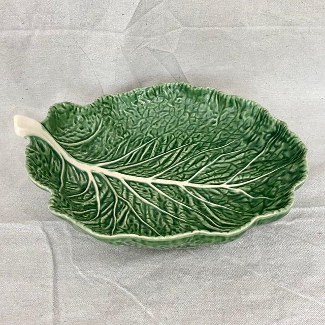 Vintage Green Bordallo Pinheiro Cabbage Leaf Bowl For Sale - Image 10 of 10