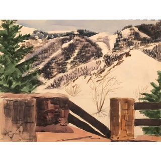 Snowy Mountain Landscape 1950s For Sale