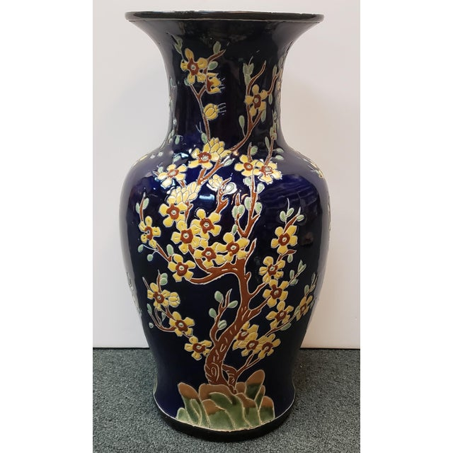 Circa 1880 French Longwy Style Pottery Enameled Yellow Cherry Blossom Motifs Baluster Vase For Sale - Image 9 of 9