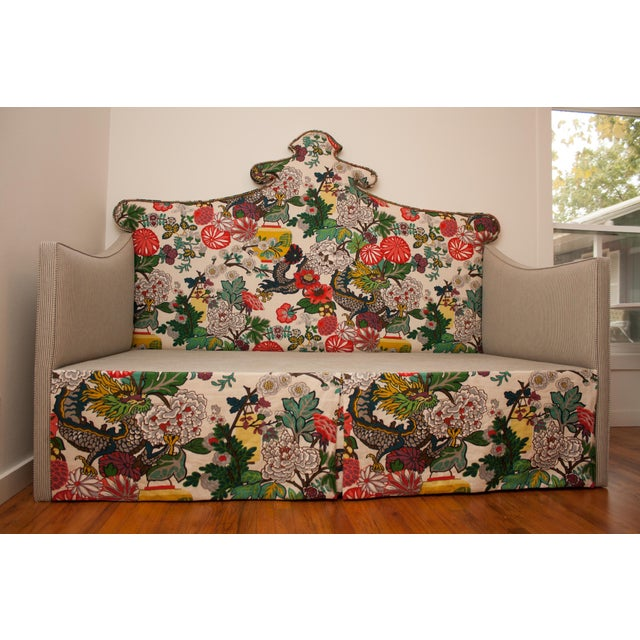 Schumacher Custom Shaped Chinois Daybed With Trundle For Sale - Image 4 of 5